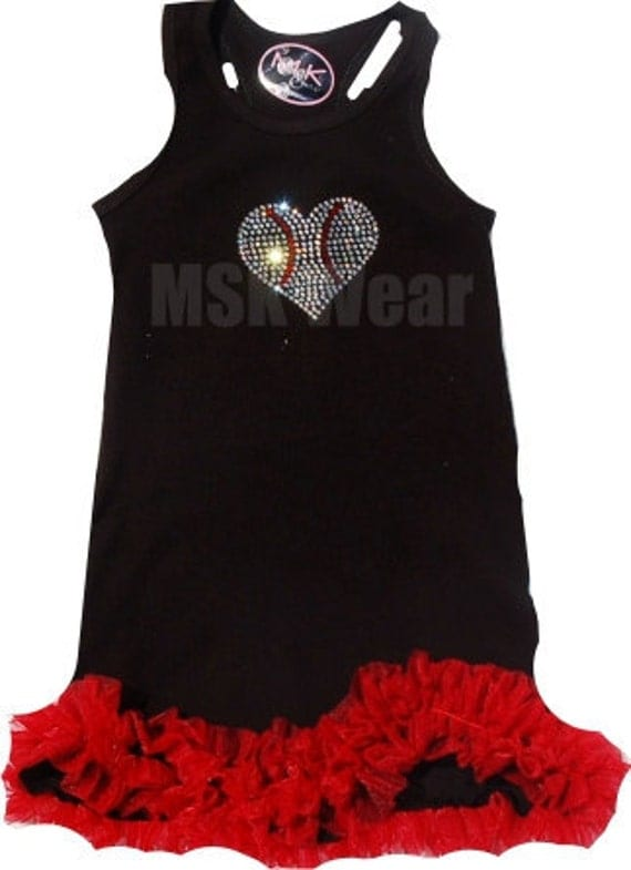 Crystal Baseball Heart Tank  Dress With Chiffon Ruffles 6T