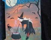 Original  OOAK  Halloween Witch Innkeepers Sign Painting