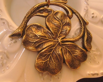 Four Leaf Clover Necklace Best Friend Gift Charm Necklace Clover Necklace vintage brass