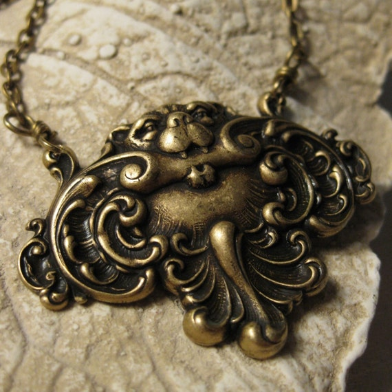 Gargoyle Lion Necklace vintage brass protection by ...