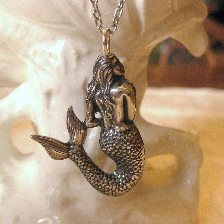 Mermaid Necklace Vintage Silver