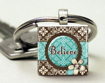 Believe Teal Brown Keychain Scrabble Tile