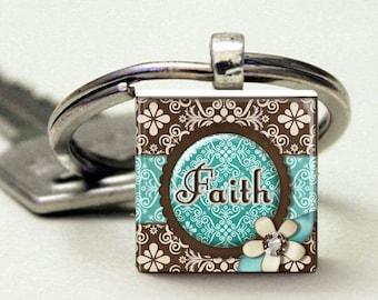 Faith  Teal Brown Keychain