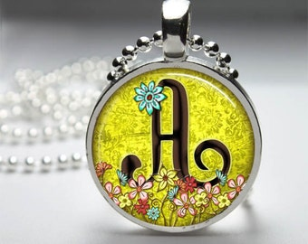 1 inch  Round Pendant  Tray -   Initial A  with flowers   With Ball  Chain