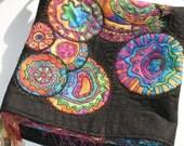 Art Quilt Purse - Wild Circles on Black