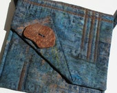 Quilted Shoulder Purse, Blue Bronze Copper, Funky wood button
