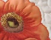 Art Quilt Purse - Orange Poppy on Ivory