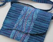 Quilted Purse, Blue Violet Batik, Crossbody or Shoulder Bag