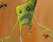 """Cute Monster Painting ACEO in green and terra cotta of my original character, """"Mortimer the Monster"""""""