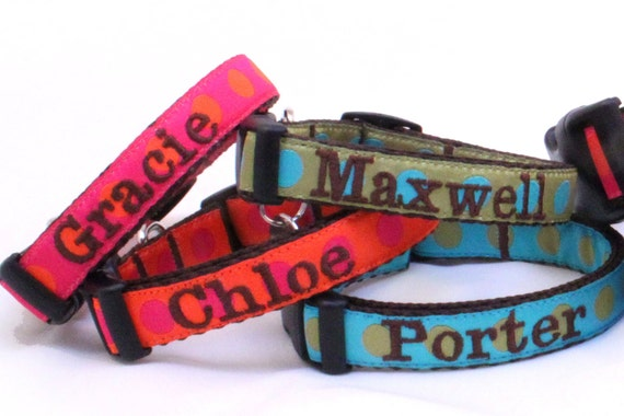 Personalized XS or Sm Dog Collar Any Pattern, Name Color, and Size.