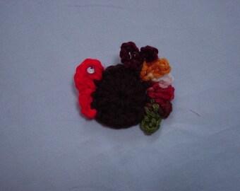Crocheted Turkey Pin