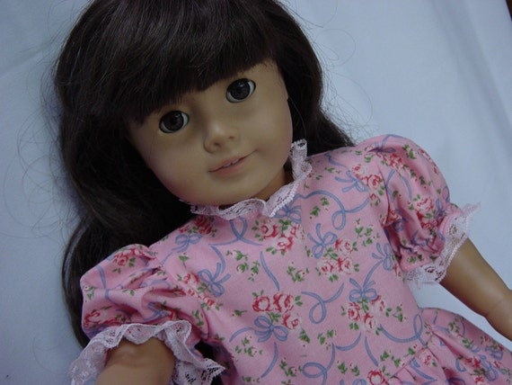 Pink with blue ribbons dress for American Girl Doll