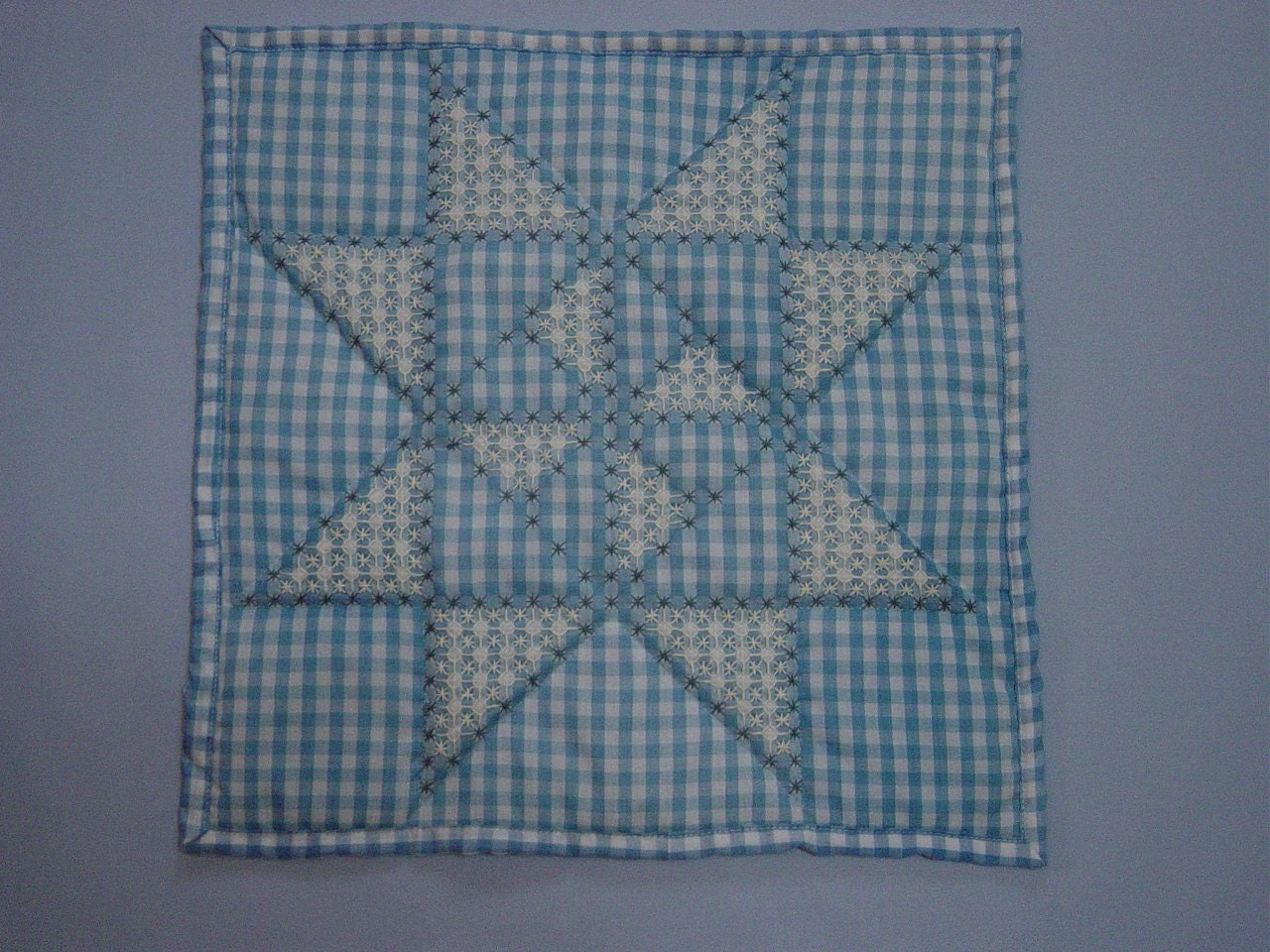 Wall hanging blue gingham with by mycraftbooth
