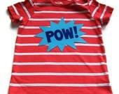 SALE Shop Closing Infant Red Blue POW T-Shirt Comic Superhero Tee Infant Clothing 12 Month 18 Month