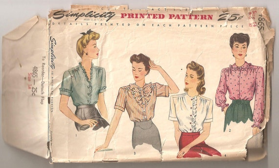Vintage 1943 Ruffled Blouse Pattern Size 14 Simplicity 4865