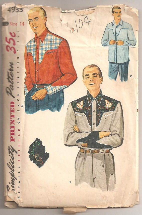 Vintage 1954 Mens Western Style Shirt Pattern Size 14 Simplicity 4933