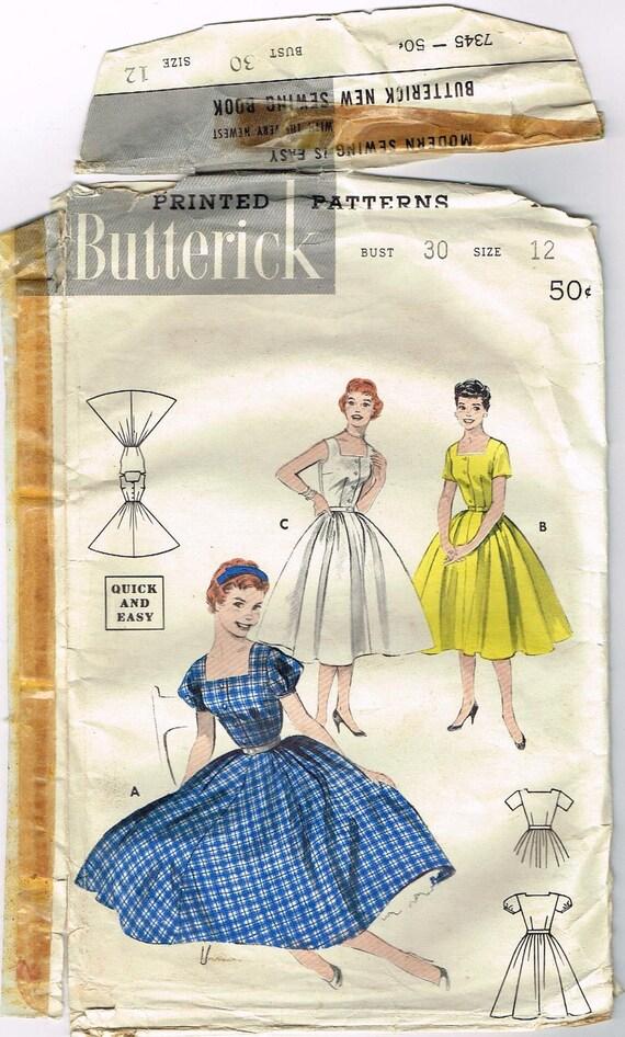 Vintage 1950s Shirtwaist Dress with Square Neckline Pattern Size 12 Butterick 7345