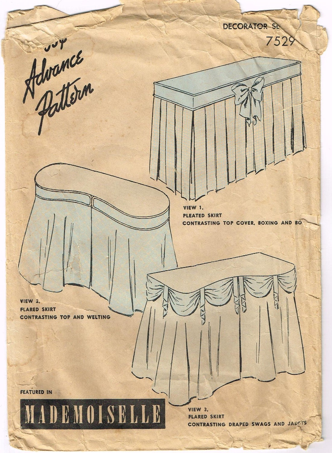 Price cut vintage 1940s dressing table skirt pattern featured for How to dress a table