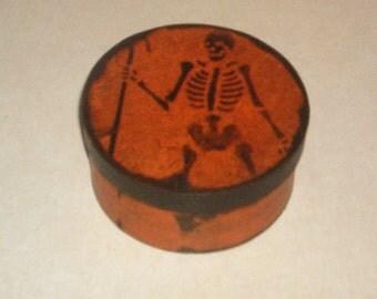 Paper Mache Vintage Halloween Skeleton  Box