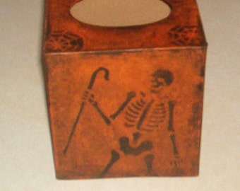 Paper Mache Primitive Folk Art Skeleton Tissue  Halloween Box