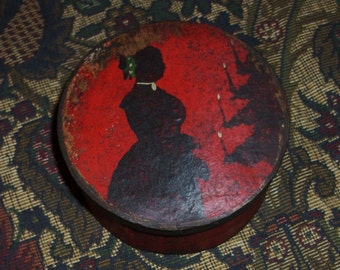 Paper Mache Red Christmas Silhouette Box
