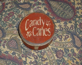 Paper Mache Red Christmas Candy Cane Box