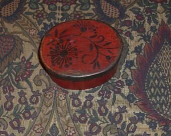 Paper Mache Vintage Red Vine  Box