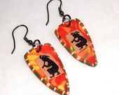 Kokopelli Dangle Earrings - Primitive Beaded Earrings - Handcrafted - Polymer Clay Earrings
