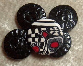 Handcrafted, Black, White and Red Round  Buttons Stripe Checker Polymer Clay No 44