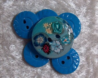 Blue Flowers and Ladybug Buttons No. 59