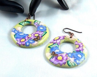Blue and Purlple Floral Round Donut Dangle Earrings