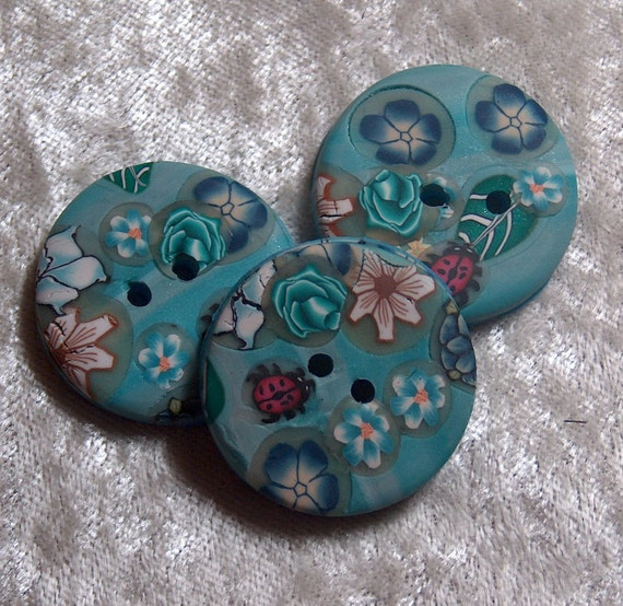 Handcrafted Blue Rose White Flower and Red Round Ladybugs Buttons Polymer Clay No. 53