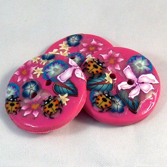 Handcrafted Hot Pink Ladybugs Buttons, Large Flower Buttons No.69