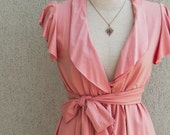 Romantic Wrap Top With Short Ruffled Sleeve, Thai Pink