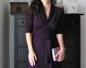 Wrap Dress With Shawl Collar  (Cap , Short or Long Sleeved)  In Juicy Plum