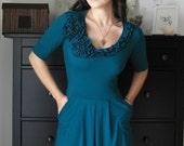 Secret Garden Dress In Venice Blue With Short Or Long Sleeves