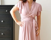 Wrap Dress With Shawl Collar In English Rose Pink , Ruffled Sleeves