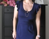 Little Blue Dress With Ruffled Sleeves - Size 6 Petite WAS 138USD