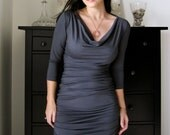 Shirred Dress With Cowl Neckline In Steel Grey with SINGLE NON SHIRRED back (3/4 or long sleeves or sleeveless)