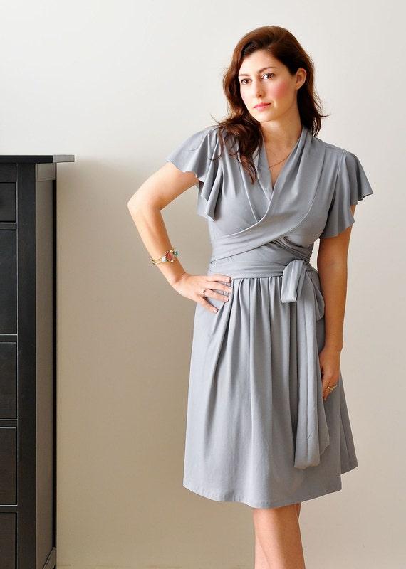 Wrap Dress With Shawl Collar In Light grey