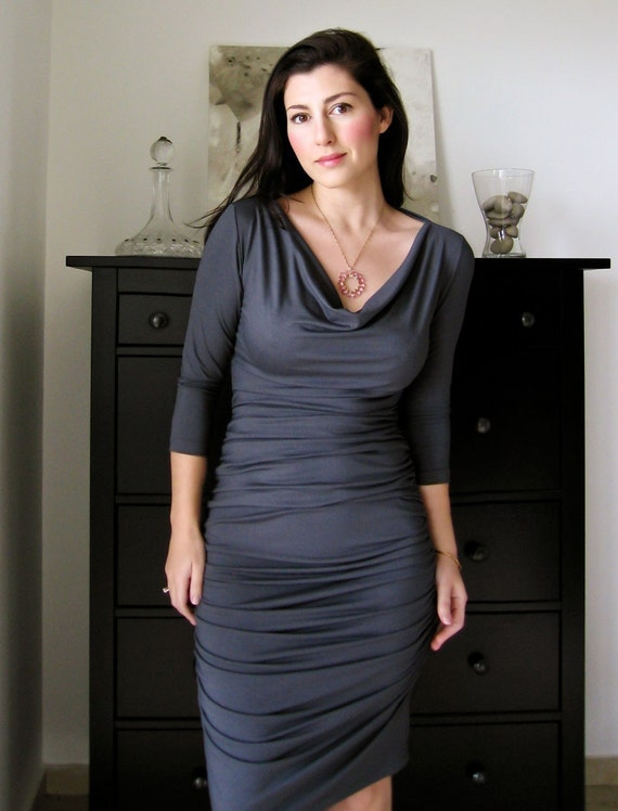 Shirred Dress In Steel Grey With Long Sleeves - Jersey Dress (Shirred front & back) , Pencil Dress, Fall / Winter Dress , Womens Wear
