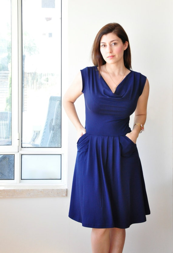 Sleeveless Navy Blue Dress With Pleated Skirt And Cowl Neck (mysterious blue) , Womens Dress, Jersey