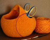 Orange Knitted/Felted Mobius Basket RESERVED for convent