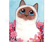 ACEO PRINT - Birman Cat and Flowers by Lisa Marie Robinson