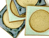 Ceramic Coasters - Mismatched Blue and Green Stoneware (Set of 4)