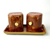 Salt and Pepper shakers with tray -Pumpkin Rose