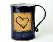 my LOVE for you is navy blue 16-ounce ceramic HEART mug