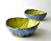 Neon Green and Blue Bowls - Wabi Sabi eclectic pottery (Set of 2)