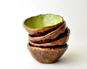 Hobbit Ceramic Tea Bowls - handmade ceramic cups in Green and Brown Mossy Forest (Set of 4)