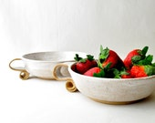 White ceramic bowls - scroll handle handmade soup bowls (Set of 2)